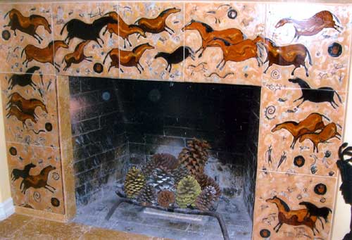 Custom Tile Fireplace :: Cave Horse Art :: Roberta Goodman, Artist